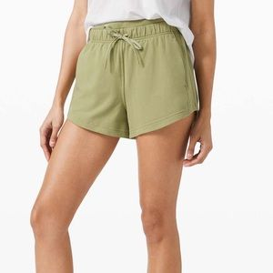 "LULULEMON INNER GLOW 3"" GREEN TERRY CLOTH SHORTS"